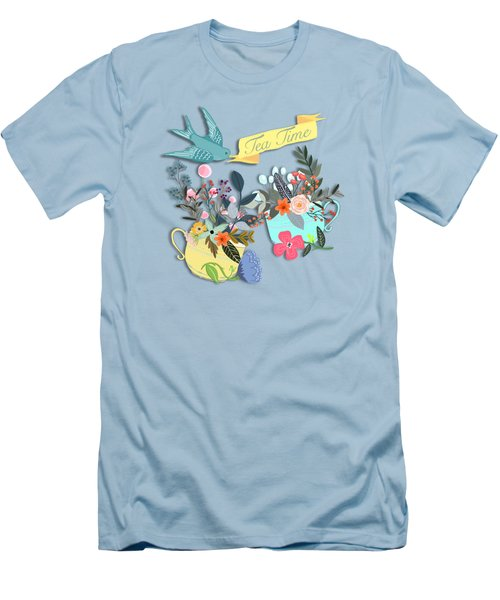 Tea For Two Men's T-Shirt (Slim Fit) by Little Bunny Sunshine