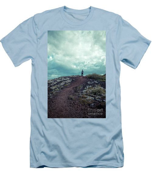 Men's T-Shirt (Athletic Fit) featuring the photograph Teenager On A Hiking Trail In Iceland by Edward Fielding