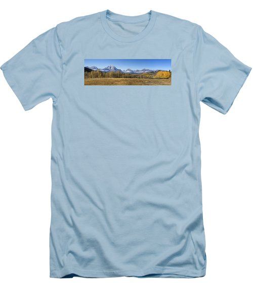 Men's T-Shirt (Slim Fit) featuring the photograph Teton Panorama by Shirley Mitchell
