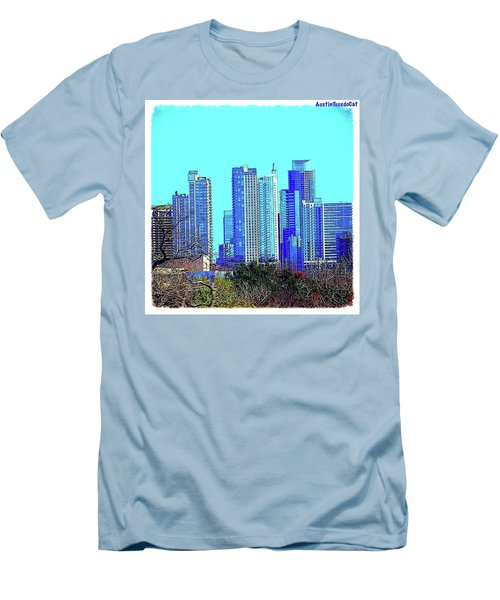 The #austin #skyline On A Sunny, Cold Men's T-Shirt (Slim Fit) by Austin Tuxedo Cat