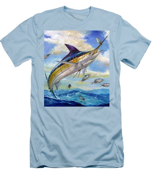 The Blue Marlin Leaping To Eat Men's T-Shirt (Athletic Fit)