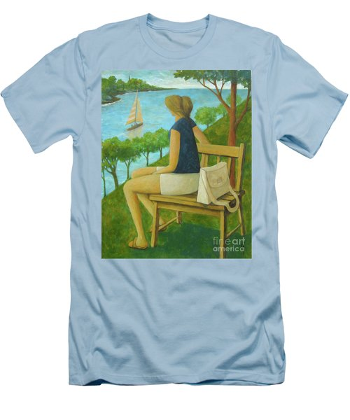 Men's T-Shirt (Slim Fit) featuring the painting The Bluff by Glenn Quist
