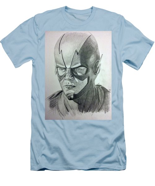 Men's T-Shirt (Slim Fit) featuring the drawing The Flash by Michael McKenzie