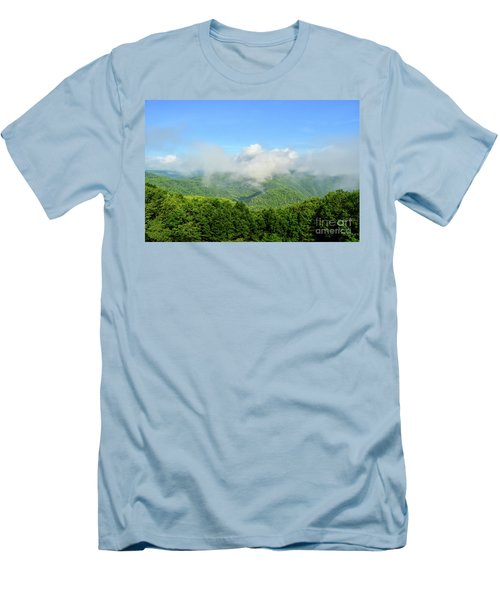 Men's T-Shirt (Athletic Fit) featuring the photograph The Fog Rises Over The Bluestone Gorge - Pipestem State Park by Kerri Farley
