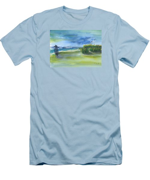 Men's T-Shirt (Slim Fit) featuring the mixed media The Gray Man Visits Pawleys Island Sc by Frank Bright