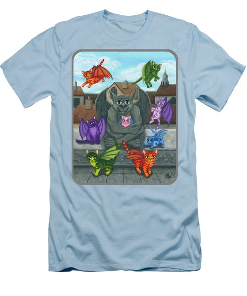 Men's T-Shirt (Slim Fit) featuring the painting The Guardian Gargoyle Aka The Kitten Sitter by Carrie Hawks