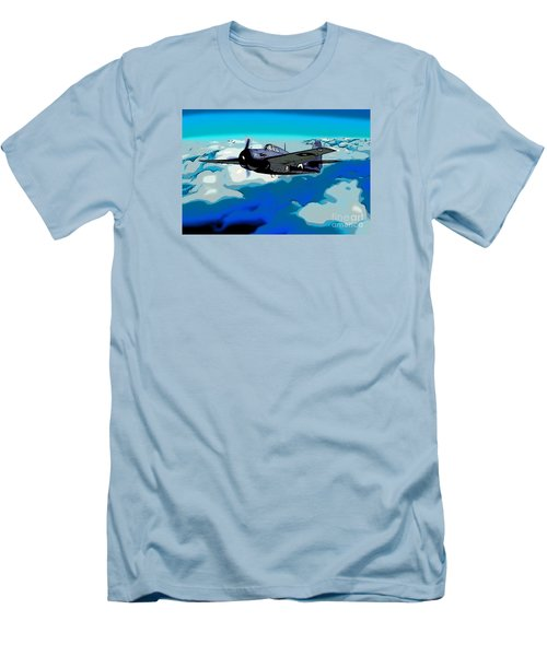 The High Flight Of A Grumman F4f Wildcat Men's T-Shirt (Slim Fit) by Wernher Krutein