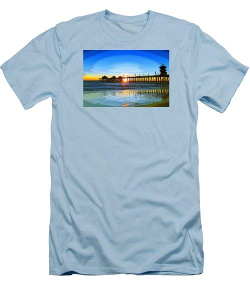 The Huntington Beach Pier Men's T-Shirt (Slim Fit) by Everette McMahan jr