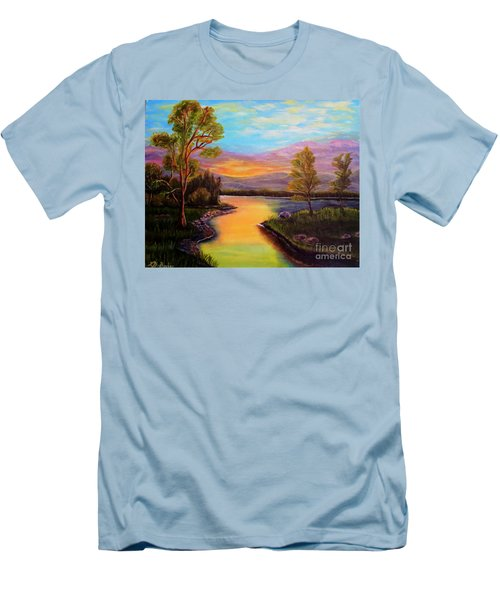 The Liquid Fire Of A Painted Golden Sunset Men's T-Shirt (Slim Fit) by Kimberlee Baxter