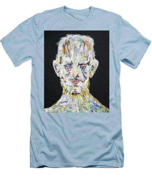 Men's T-Shirt (Slim Fit) featuring the painting The Man Who Tried To Become A Mountain by Fabrizio Cassetta