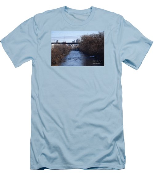Men's T-Shirt (Slim Fit) featuring the digital art The Menomonee Near 33rd And Canal Streets by David Blank