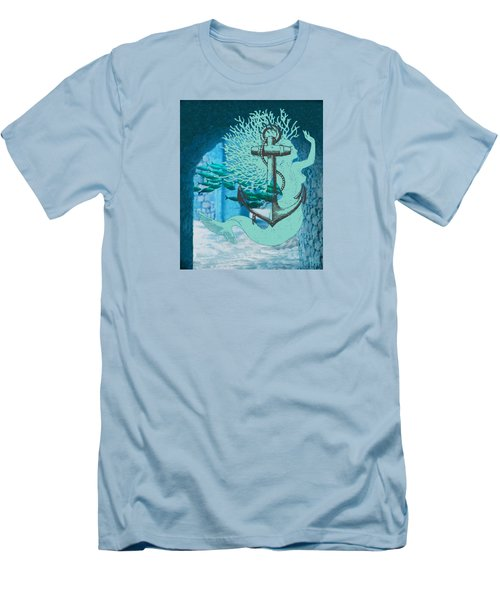 The Mermaid The Anchor And School Of Fish In The Underwater Ruins Men's T-Shirt (Slim Fit) by Sandra McGinley