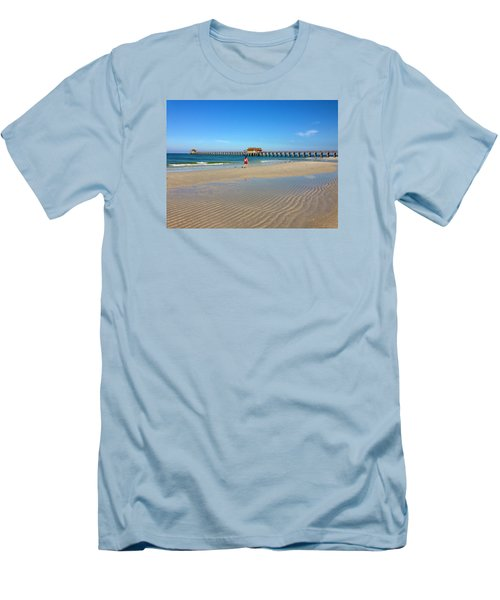 The Naples Pier At Low Tide Men's T-Shirt (Slim Fit) by Robb Stan