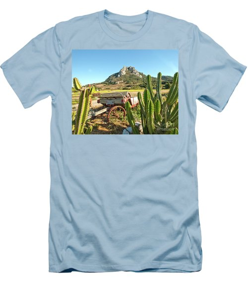 The Old Wagon And Cactus Patch In Front Of One Of The Seven Sisters In San Luis Obispo California Men's T-Shirt (Athletic Fit)