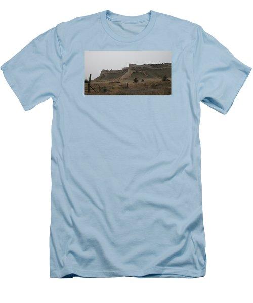 The Oregon Trail Scotts Bluff Nebraska Men's T-Shirt (Slim Fit) by Christopher Kirby