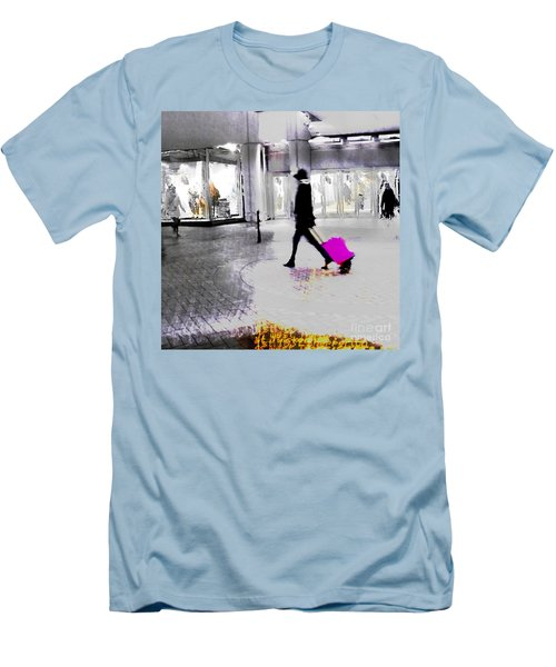 Men's T-Shirt (Athletic Fit) featuring the photograph The Pink Bag by LemonArt Photography