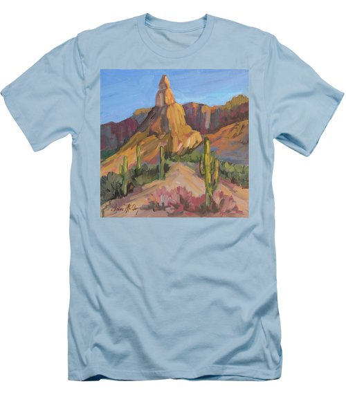 Men's T-Shirt (Slim Fit) featuring the painting The Pinnacle At Goldfield Mountains by Diane McClary