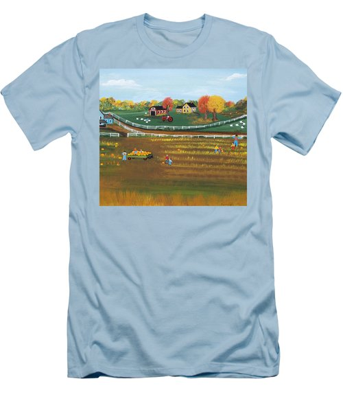 Men's T-Shirt (Slim Fit) featuring the painting The Pumpkin Patch by Virginia Coyle