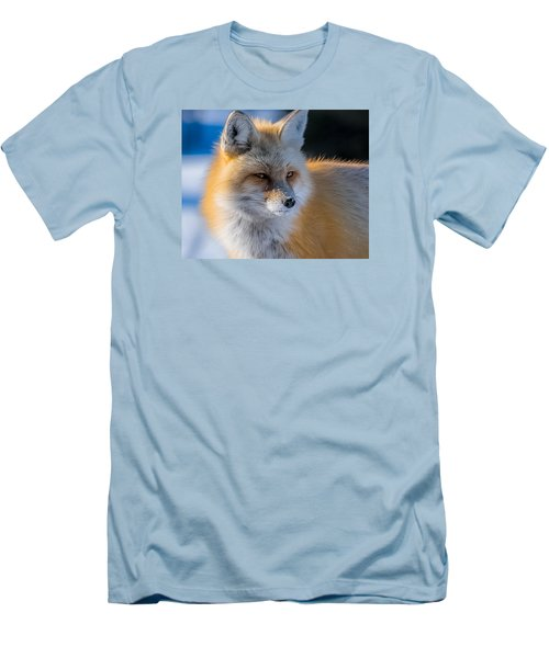 Men's T-Shirt (Slim Fit) featuring the photograph The Red Fox Portrait In Snow by Yeates Photography