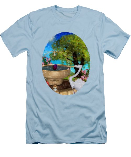 The Rose Path Egret Men's T-Shirt (Slim Fit) by Sharon and Renee Lozen