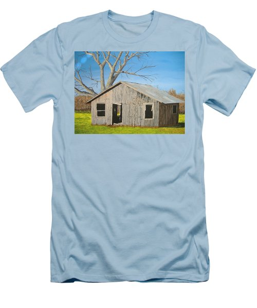 Men's T-Shirt (Slim Fit) featuring the painting The Shack by Norm Starks