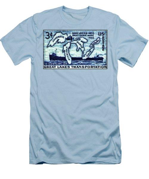 The Soo Locks Stamp Men's T-Shirt (Slim Fit) by Lanjee Chee