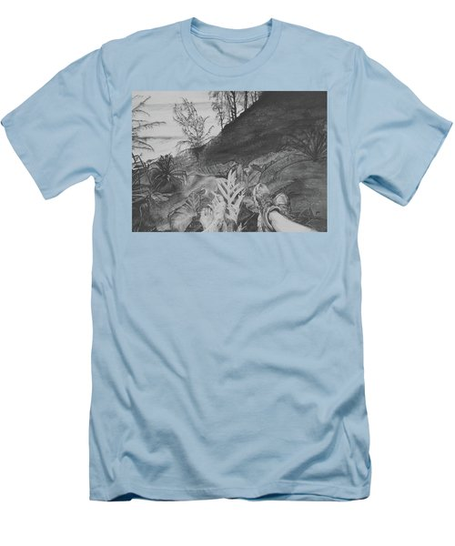 Men's T-Shirt (Slim Fit) featuring the drawing The Summit by Jane Autry