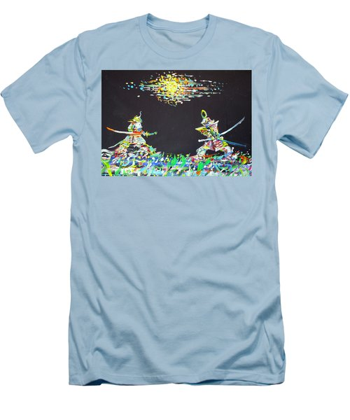Men's T-Shirt (Slim Fit) featuring the painting The Two Samurais by Fabrizio Cassetta