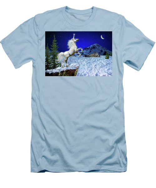 Men's T-Shirt (Slim Fit) featuring the digital art The Ultimate Return Of Unicorn  by William Lee