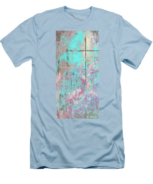 This Side Of The Cross Men's T-Shirt (Slim Fit) by Karen Kennedy Chatham