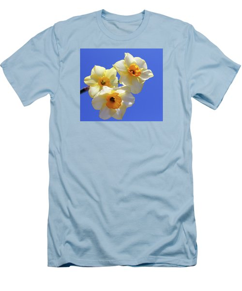 Men's T-Shirt (Slim Fit) featuring the photograph Three Daffodils by Judy Vincent