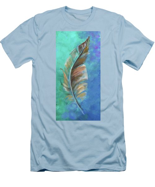Men's T-Shirt (Slim Fit) featuring the painting Three Feathers Triptych-center Panel by Agata Lindquist