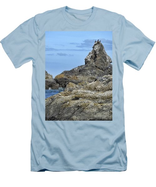 Men's T-Shirt (Athletic Fit) featuring the photograph Three Little Birds by Peggy Hughes
