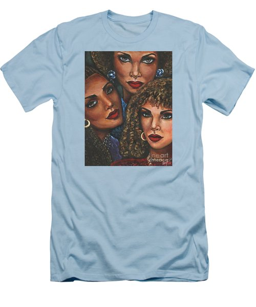 Men's T-Shirt (Slim Fit) featuring the painting Three Women by Alga Washington