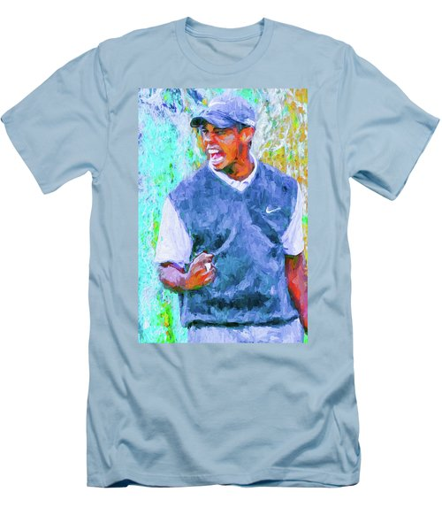 Men's T-Shirt (Slim Fit) featuring the photograph Tiger One Two Three Painting Digital Golfer by David Haskett