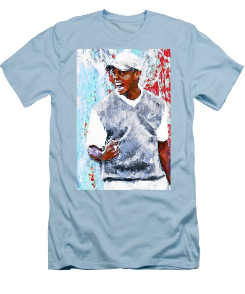 Men's T-Shirt (Slim Fit) featuring the photograph Tiger Woods One Two Red Painting Digital by David Haskett