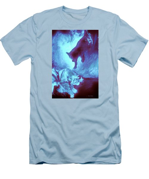 Men's T-Shirt (Slim Fit) featuring the painting Tip Toeing On Little Cat Feet by Denise Fulmer
