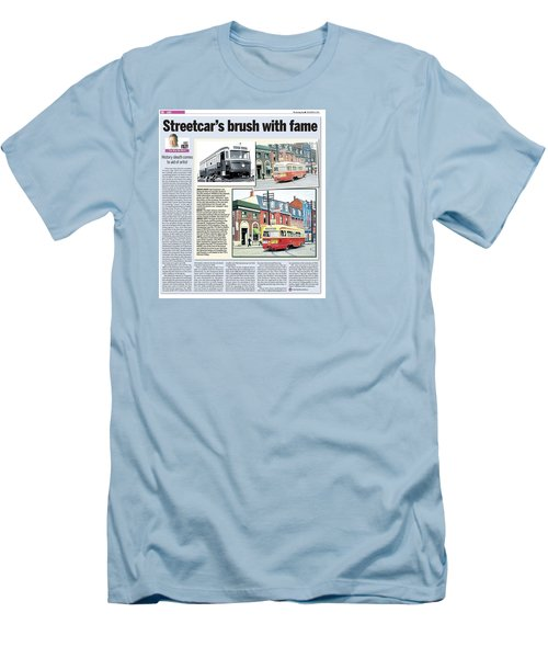 Men's T-Shirt (Slim Fit) featuring the painting Toronto Sun Article Streetcars Brush With Fame by Kenneth M Kirsch
