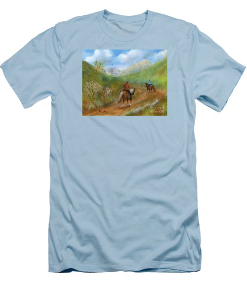 Trail Ride In Sabino Canyon Men's T-Shirt (Slim Fit) by Judy Filarecki