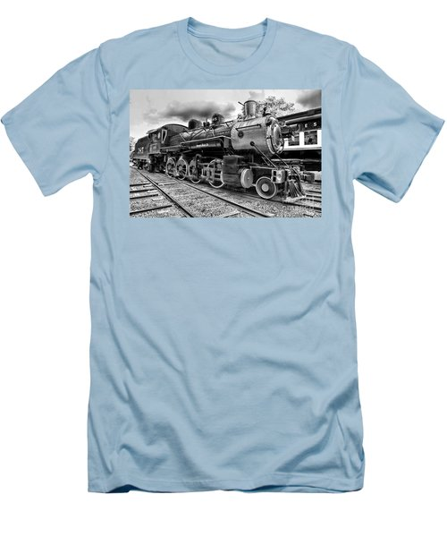 Train - Steam Engine Locomotive 385 In Black And White Men's T-Shirt (Slim Fit) by Paul Ward