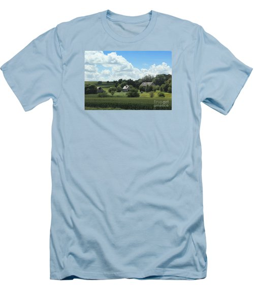 Men's T-Shirt (Slim Fit) featuring the photograph Three Barns by Yumi Johnson