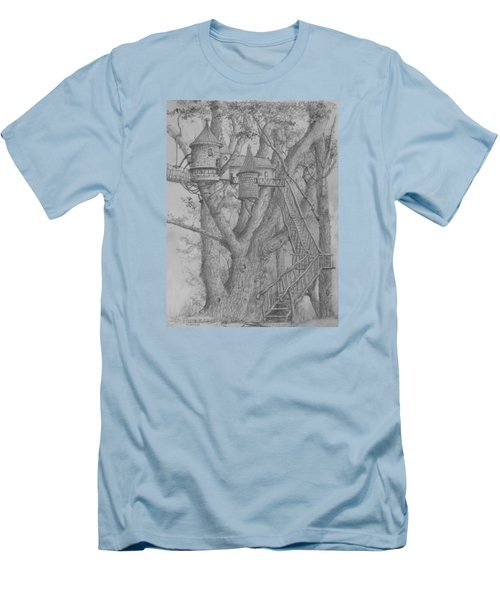 Men's T-Shirt (Slim Fit) featuring the drawing Tree House #3 by Jim Hubbard