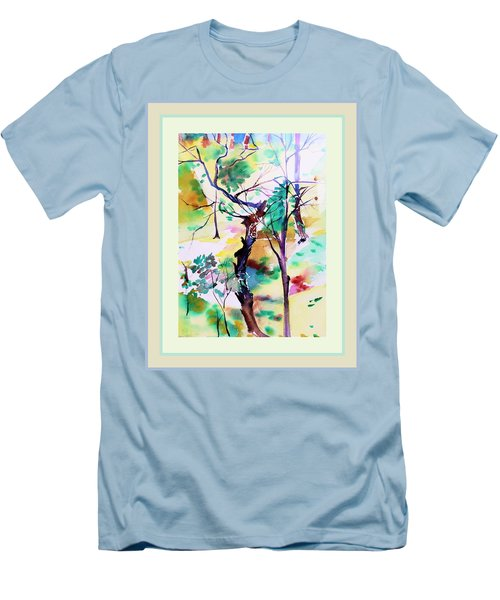 Men's T-Shirt (Slim Fit) featuring the painting Tree Lovers by Mindy Newman