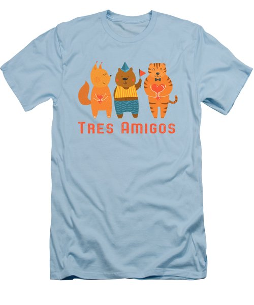 Tres Amigos Cute Animals Tee Men's T-Shirt (Athletic Fit)