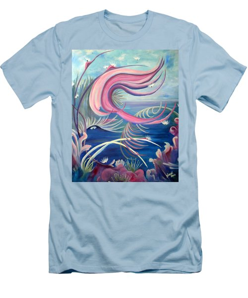 Men's T-Shirt (Slim Fit) featuring the painting Tropical Dancer by Renate Nadi Wesley