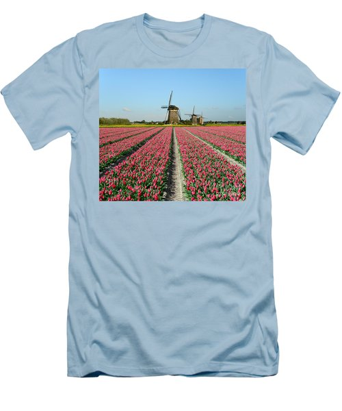 Tulips And Windmills In Holland Men's T-Shirt (Slim Fit) by IPics Photography