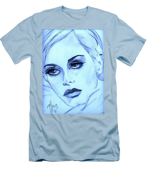 Men's T-Shirt (Slim Fit) featuring the painting Twiggy In Blue by P J Lewis