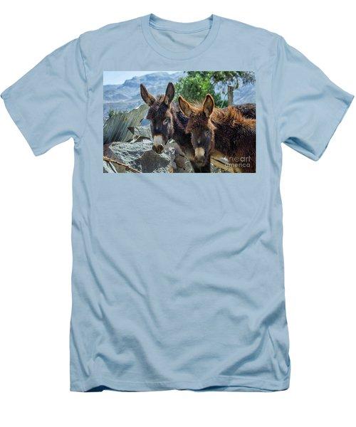 Two Donkeys Men's T-Shirt (Slim Fit) by Patricia Hofmeester