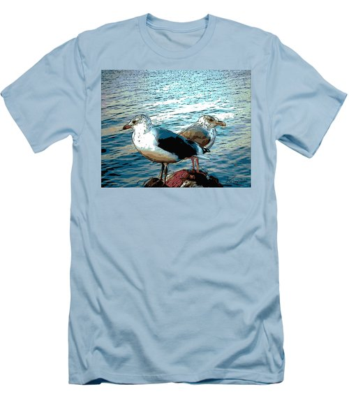 Two Gulls Men's T-Shirt (Slim Fit) by Ann Tracy