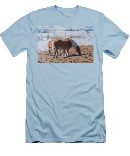 Two Ponies In The Snow Men's T-Shirt (Athletic Fit)